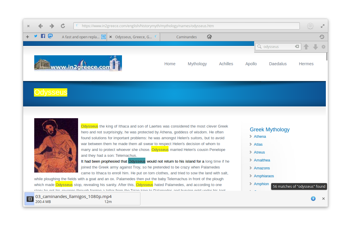 "Screenshot of Odysseus showcasing the ""headerbar"", tabbar, find-in-page, and downloads features."